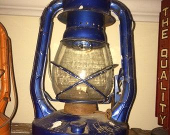 Vintage, Dietz, Air Pilot, No 8, NYUS, Blue, Kerosene, Lantern Lamp, Clear Glass, Works Great