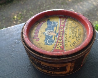 Antique Johnson's Prepared Wax Tin - For The Automobile,Wood Floors,Linoleum,Fine Furniture,Woodwork