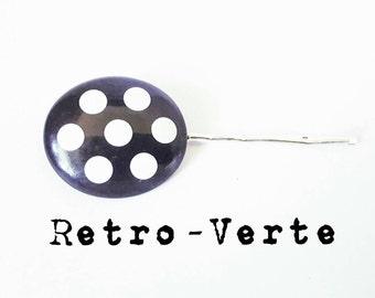 Vintage Upcycled Black & White 1950s Polka Dot Barrette Pin Up Hair Pin