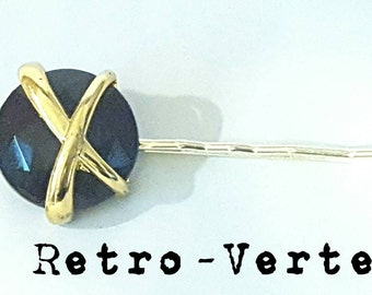 Vintage Upcycled Black & Gold X 1950s - 1960s Barrette Pin Up Hair Pin