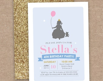 Girl Build A Bear Birthday Invitation, Cinderella Inspired, Silhouette and Glitter, DIY Printable