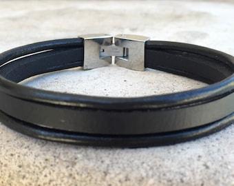 FREE SHIPPING-Men Leather Bracelet,Stainless Steel Leather Bracelet,Men Strand Bracelet,Men Black Bracelet,Stainless Steel Bracelet,Bracelet
