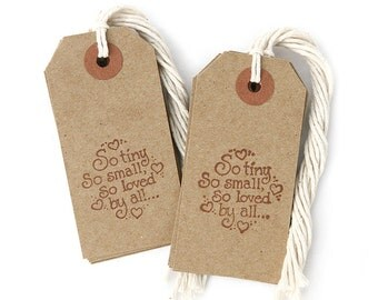 Kraft Tags with String - tags for favors - So tiny So small So loved by all - 12-pk