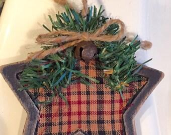 Primitive wood star ornament
