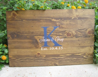 Rustic Hand Painted Pallet Wooden Wedding Guestbook Alternative - Monogram - Wood Guest Book