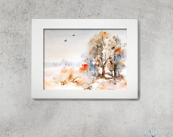 ORIGINAL Watercolor Painting, Landscape Painting, Abstract Nature Watercolour Art