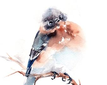Painting of Blue Bird , ORIGINAL Watercolor Painting, Bird Painting, Tiny Painting, Bird Art