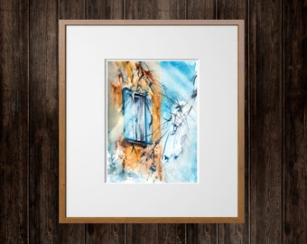 Original Watercolor Painting, Winter Tree Branches ans Window, Watercolour Art