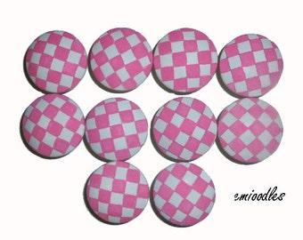 Custom Girls Nursery Checkered Pink Hand Painted Drawer Pulls Knobs