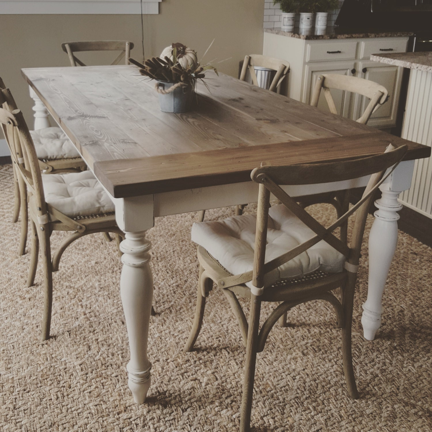 Gorgeous handmade rustic farmhouse table dinning table for Rustic farm tables for sale