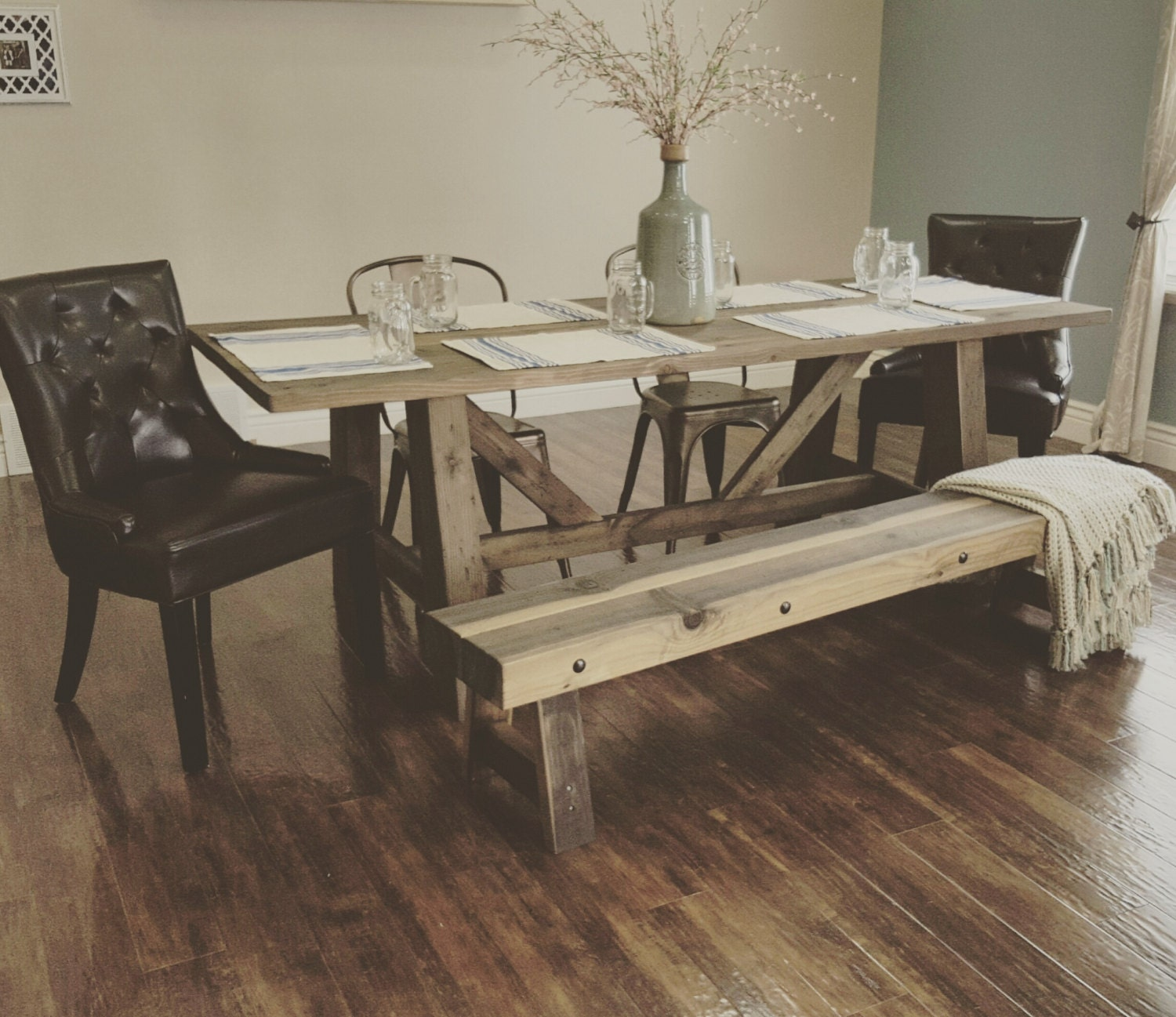 stunning handmade rustic farmhouse table by ModernRefinement