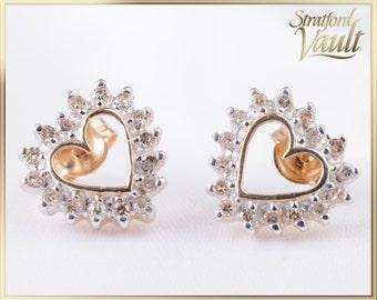 GIA ~ 800.00 ~ Vintage ~ Diamond Heart Earring Studs ~ 14K Yellow and White Gold ~ 0.32ctw Genuine Round Single Cut J/I1 Diamonds ~ Str15664