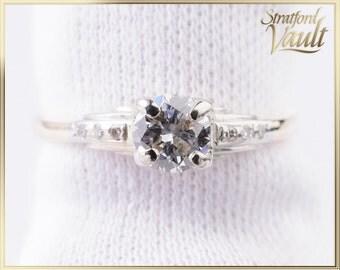 1940's ~ Diamond Engagement Ring ~ 14K Yellow Gold & Platinum ~ European 0.40ct F/SI1 Diamond ~ Single Cut Sides ~ BT17185 ~ GIA ~ 3500.00