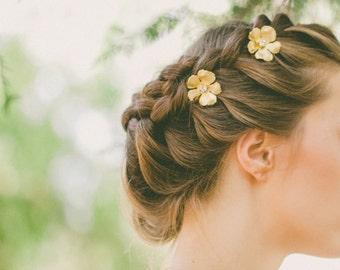 Gold Flower Hair Pins Flower Bobby Pins Flower Hair Clips Bridal Flower Hair Accessories Garden Wedding Rustic Woodland Weddings Autumn Fall