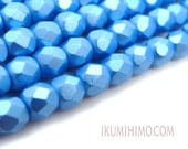 4mm Fire Polished Czech Glass Faceted Beads Pastel Turquoise