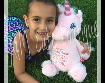 Personalized unicorn stuffed animal