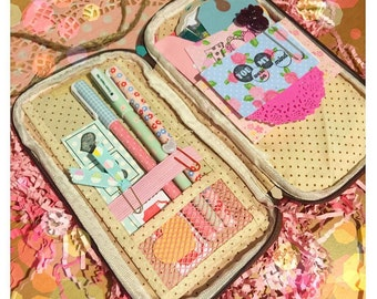 Pencil pouch pencil organizer pen folio pencil folio planner pouch traveler pencil case filled with goodies