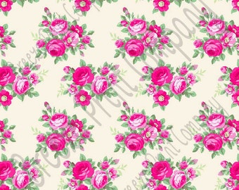 Pink rose floral craft  vinyl sheet - HTV or Adhesive Vinyl -  with off-white light beige background flower pattern vinyl  HTV2217