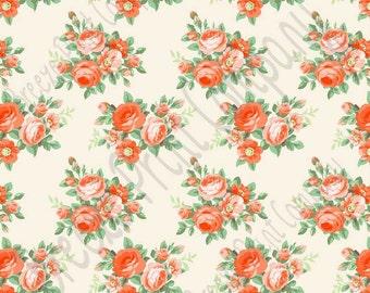 Orange peach rose floral craft  vinyl sheet - HTV or Adhesive Vinyl -  with off-white light beige background flower pattern vinyl  HTV2215