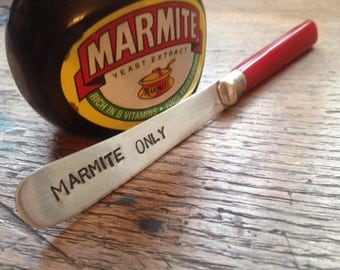 """Hand Stamped Vintage Butter Knife """"Marmite Only"""" Birthday Gift"""