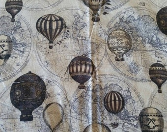 Vintage Hot Air Balloon Quilting Fabric, 44.8 inches wide x 36 inches long, 112cm wide x 90cm long