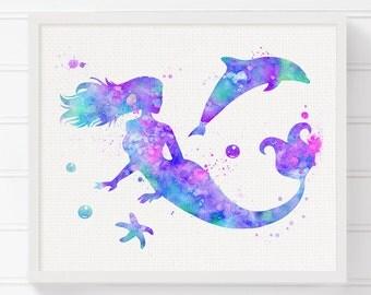 Watercolor Mermaid, Mermaid Art Print, Mermaid Illustration, Mermaid Wall Art, Mermaid Poster, Girls Room Decor, Baby Girl Nursery, Purple