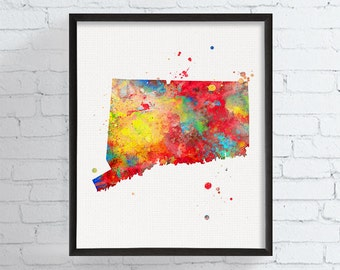 Connecticut State Art, Connecticut Watercolor Map, Connecticut Poster, Connecticut Art Print, State Wall Decor, Travel Art, Dorm Art, Framed