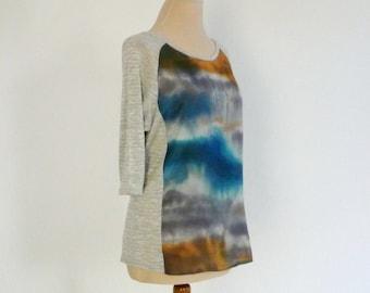 Loose handpainted top,blue silk top, grey silk shirt,modern style,flowy,3 4 length sleeves,ladies tops,art to wear