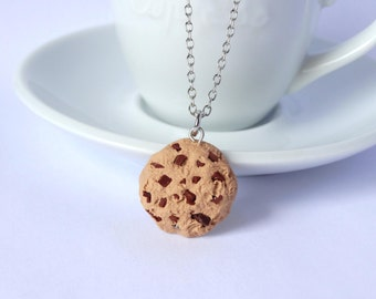 Chocolate chip cookie necklace charm pendant kawaii miniature food