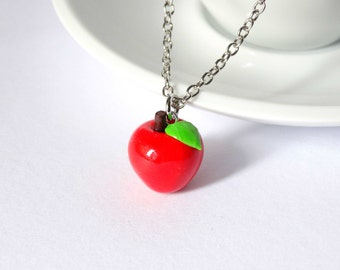 Red apple necklace charm pendant fruit kawaii cute  teacher appreciation week gift teacher present cute teacher gift handmade polymer clay