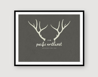 Pacific Northwest | Antlers | Winter | Wall Decor | INSTANT DOWNLOAD | 8x10