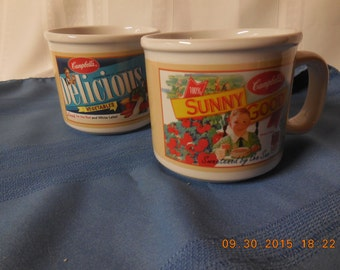 Two Campbell's soup mugs, use for soup or hot cocoa or a latte, or use the colorful cups as a display piece.