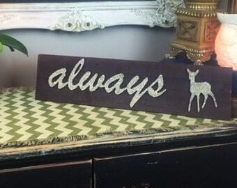 Always Severus Snape Sign With Doe Patronus in Silver German Glass Glitter, Harry Potter, Half-Blood Prince, Professor Snape, Slytherin