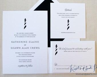 Lighthouse Wedding Invitations, Beach Wedding Invitations, Outer Banks Wedding Invitations, Cape Hatteras Wedding, OBX Wedding, Cape Cod