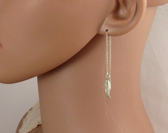 Silver feather chain earrings , gold feather chain earrings , delicate chain earrings , leaf earrings