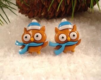 Owl Earrings - Christmas Owl Earrings - Holiday Post Earrings  - Owl Jewelry - Novelty Winter Earrings
