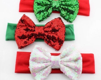 Baby girls Christmas headband. Baby girl turban headband. Christmas sparkle bow. Sequin bow.