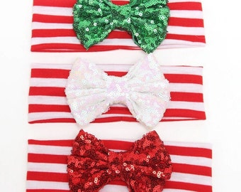 Baby girls Christmas headband. Baby girl couture headband. Christmas sparkle bow. Sequin bow. Shabby chic. Shabby flowers.