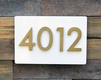 First Impression Address Plaque w/ Brass Numbers, Address Sign, House Numbers (Free Shipping)