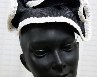 Black and White Fascinator with Handmade Flowers Hat Hatinator Spring Racing Carnival Wedding Party Ready to Ship