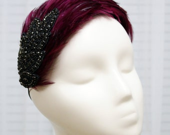 Burgundy Feathered Fascinator with Black Beaded Motif