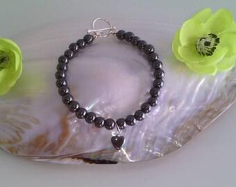 Natural Haematite Heart Charm Bracelet