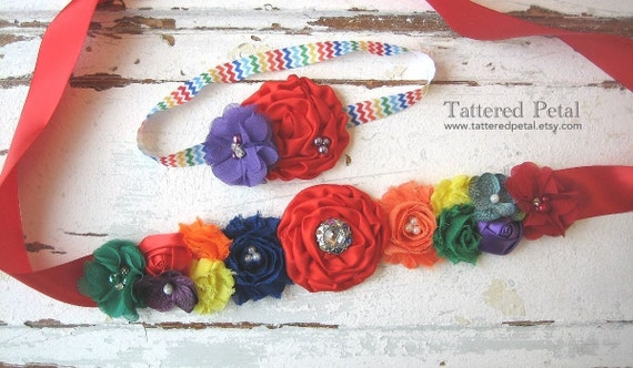 Rainbow Maternity Sash And Baby Headband Set