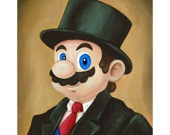 Dapper Mario - Nintendo Super Mario Painting - Fancy Top Hat and Tie Mario Geek Parody - Video Game Art - Gift for Gamer Katie Clark Art