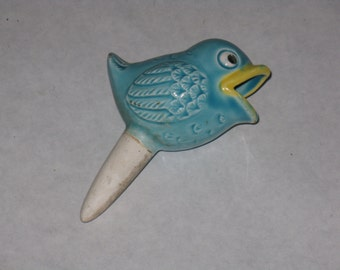 Vintage ceramic bird plant waterer dripper watering house plants blue