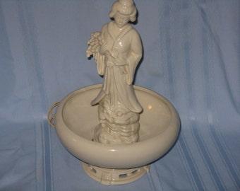Vintage ceramic table lamp Geisha Japan woman white ivory