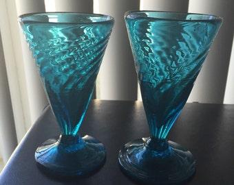 Hand Blown Blue Glasses (2) Unique Sizes