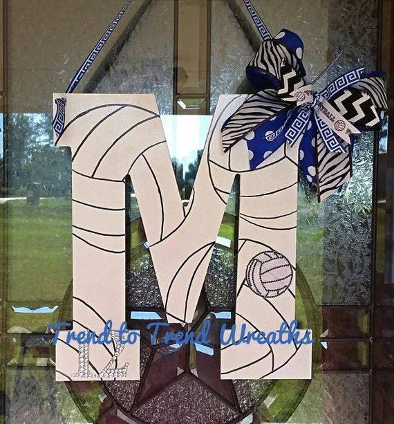 Wooden volleyball letter volleyball volleyball decor for Idea door gift diy