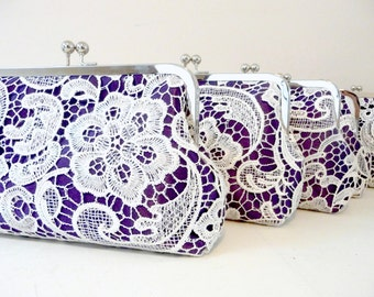Purple Lace Bridesmaid Clutch Set of 5, Personalized Lace Clutch Set of 5, 6 or 7, Bridesmaid Clutch Gift, Lace Purse Set, Eight inch Frame