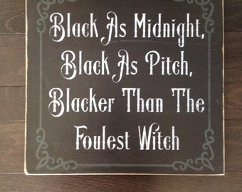 Black Witch Halloween Sign Hand Painted by, IzzyB Vintage Me
